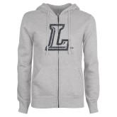 ENZA Ladies Grey Fleece Full Zip Hoodie-L Glitter Graphite Soft Glitter