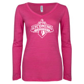 ENZA Ladies Hot Pink Long Sleeve V Neck Tee-Primary Mark