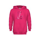 Youth Raspberry Fleece Hoodie-L Logo  Foil