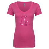 Next Level Ladies Junior Fit Ideal V Pink Tee-L Logo  Foil