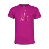 Youth Cyber Pink T Shirt-L Logo  Foil