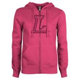 ENZA Ladies Fuchsia Fleece Full Zip Hoodie-L Glitter Hot Pink Glitter