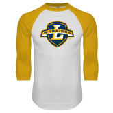 White/Gold Raglan Baseball T Shirt-L Warriors