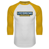 White/Gold Raglan Baseball T Shirt-Lycoming Warriors