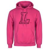 Fuchsia Fleece Hoodie-L Glitter Hot Pink Glitter