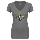 Next Level Ladies Vintage Grey Tri Blend V Neck Tee-Primary Mark