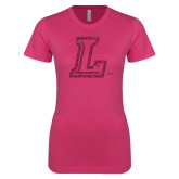 Ladies SoftStyle Junior Fitted Fuchsia Tee-L Glitter Hot Pink Glitter