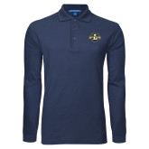 Navy Long Sleeve Polo-L Warriors