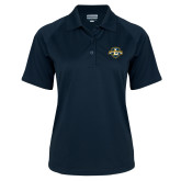 Ladies Navy Textured Saddle Shoulder Polo-L Warriors