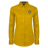 Ladies Gold Twill Button Down Long Sleeve-L Warriors