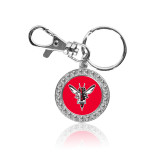 Crystal Studded Round Key Chain-Hornet Bevel L