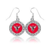 Crystal Studded Round Pendant Silver Dangle Earrings-Hornet Bevel L
