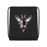 Black Drawstring Backpack-Hornet Bevel L