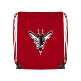 Nylon Red Drawstring Backpack-Hornet Bevel L