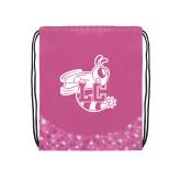 Nylon Pink Bubble Patterned Drawstring Backpack-Hornet