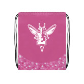 Nylon Pink Bubble Patterned Drawstring Backpack-Hornet Bevel L