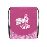Nylon Zebra Pink/White Patterned Drawstring Backpack-Hornet
