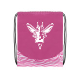 Nylon Zebra Pink/White Patterned Drawstring Backpack-Hornet Bevel L