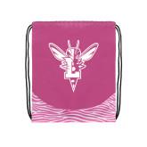 Nylon Zebra Pink/White Patterned Drawstring Backpack-Hornet Bevel L