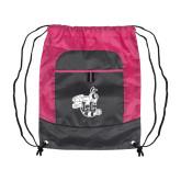 Nylon Pink Raspberry/Deep Smoke Pocket Drawstring Backpack-Hornet