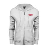 ENZA Ladies White Fleece Full Zip Hoodie-Lynchburg Hornets