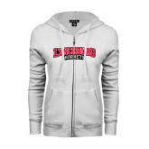 ENZA Ladies White Fleece Full Zip Hoodie-Lynchburg Hornets Wordmark