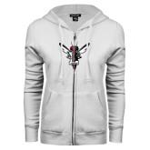 ENZA Ladies White Fleece Full Zip Hoodie-Hornet Bevel L