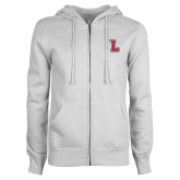 ENZA Ladies White Fleece Full Zip Hoodie-Stinger L