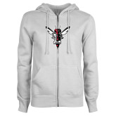 ENZA Ladies White Fleece Full Zip Hoodie-Hornet Bevel L