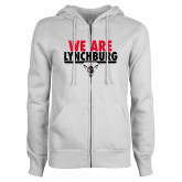 ENZA Ladies White Fleece Full Zip Hoodie-We Are Lynchburg