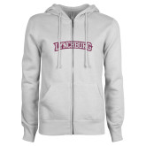 ENZA Ladies White Fleece Full Zip Hoodie-Arched Lynchburg Pink Glitter