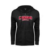 ENZA Ladies Black Fleece Full Zip Hoodie-Lynchburg Hornets