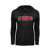 ENZA Ladies Black Fleece Full Zip Hoodie-Lynchburg Hornets Wordmark