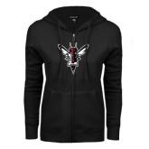 ENZA Ladies Black Fleece Full Zip Hoodie-Hornet Bevel L