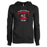 ENZA Ladies Black Fleece Full Zip Hoodie-Lynchburg College Hornets