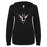 ENZA Ladies Black V Notch Raw Edge Fleece Hoodie-Hornet Bevel L
