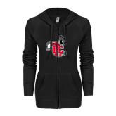 ENZA Ladies Black Light Weight Fleece Full Zip Hoodie-Hornet