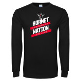 Black Long Sleeve T Shirt-Hornet Nation Slanted Banners