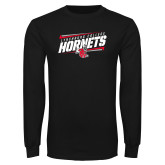Black Long Sleeve T Shirt-Lynchburg College Hornets Stencil