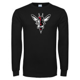 Black Long Sleeve T Shirt-Hornet Bevel L Distressed