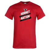 Red T Shirt-Hornet Nation Slanted Banners