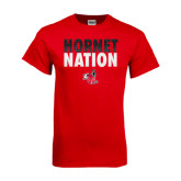 Red T Shirt-Hornet Nation Stacked