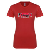 Next Level Ladies SoftStyle Junior Fitted Red Tee-Lynchburg Hornets