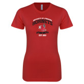 Next Level Ladies SoftStyle Junior Fitted Red Tee-Lynchburg College Hornets