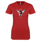 Next Level Ladies SoftStyle Junior Fitted Red Tee-Hornet Bevel L