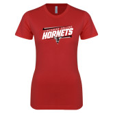 Next Level Ladies SoftStyle Junior Fitted Red Tee-Lynchburg College Hornets Stencil