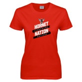 Ladies Red T Shirt-Hornet Nation Slanted Banners