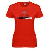 Ladies Red T Shirt-We Are Lynchburg Two-Tone