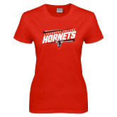 Ladies Red T Shirt-Lynchburg College Hornets Stencil