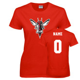Ladies Red T Shirt-Hornet Bevel L, Custom Tee w/ Name and #